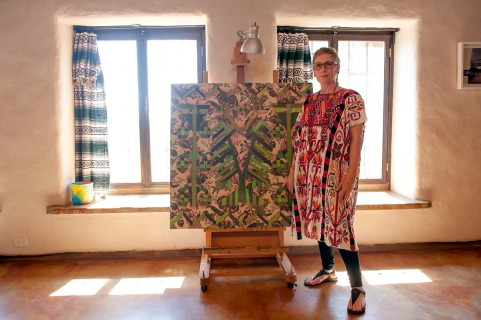 Artist Irma Sofia Poeter at her house and studio in Tecate, Baja California, Mexico. LA FRONTERA: Artists along the US Mexican Border. © Stefan Falke www.stefanfalke.com borderartists.com