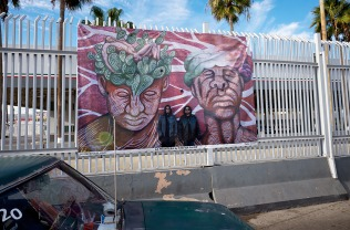 LA FRONTERA: Artists along the US Mexican Border by Stefan Falke on the border fence in Tijuana at San Ysidro Port of Entry. The exhibition is hosted by Festival Tijuana Interzona. Photos: Luis Camarena for Stefan Falke borderartists.com