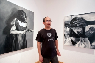 Luis Guillermo Hernandez runs a gallery in Calexico, USA and his own artist studio in Mexicali, Mexico. Sept 2016. Photo © Stefan Falke / www.stefanfalke.com