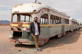 Photographer Peter Svarzbein at the trolley depot in the desert near the airport of El Paso, Texas. Peter has great project going to revive the old trolley line from El Paso to Ciudad Juarez, Mexico.