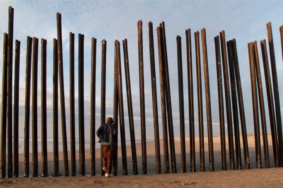 Border fence in Playas Tijuana, Mexico