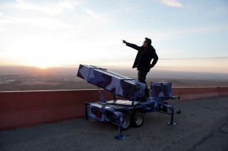 Artist Angel Cabrales takes border defense to the extreme with personal drones, home edition Patriot missile launchers and Flan tipped bombs in El Paso, Texas. El Paso, Texas, USA. This picture is part of my long-term project LA FRONTERA: Artists along the US Mexican Border. © Stefan Falke / www.stefanfalke.com The photograph is available as a part of a limited edition portfolio in a clamshell box or as a single edition print. Inside the handmade box (edition: 15): 13 prints 16 x 20 inches numbers 1-15 as part of the portfolio box: $8,500 numbers 16-30 as single edition prints: $895 ------------------- Limited edition prints 11 x 14 inches Edition of 30: $495 -------------------- 20 x 30 inches Edition of 10: $1,250 --------------------