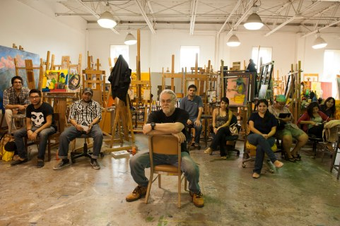 Painter Carlos G. Gomez teaches at the University of Texas at Brownsville, Texas. Many of his students cross the border from Matamoros, Mexico, every day. Only the Rio Grande (and a very high security fence) separates the two cities. Brownsville, Texas, USA. © Stefan Falke www.stefanfalke.com