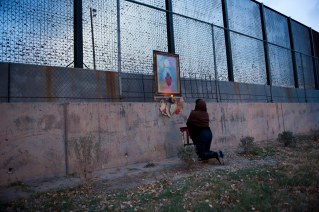 "Erica Marin installed her work "" Mis Rezos"" at the border fence in El Paso. She is a member of Puro Borde, a cross border group of artists in El Paso, USA, and Ciudad Juarez, Mexico. http://puroborde.org"