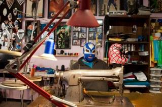 Wrestling costume and mask designer Mascaras Eduardo Sanchez at his workshop in Cuidad Juarez. Sanchez also creates masks in El Paso.